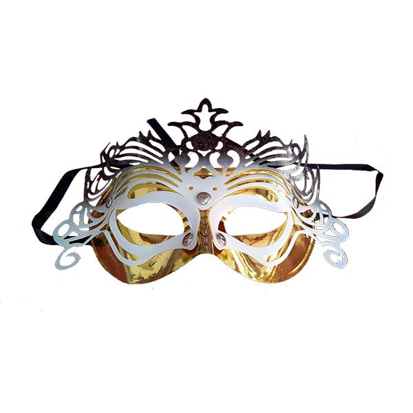 Máscara Fantasía Dorada Y Blanca