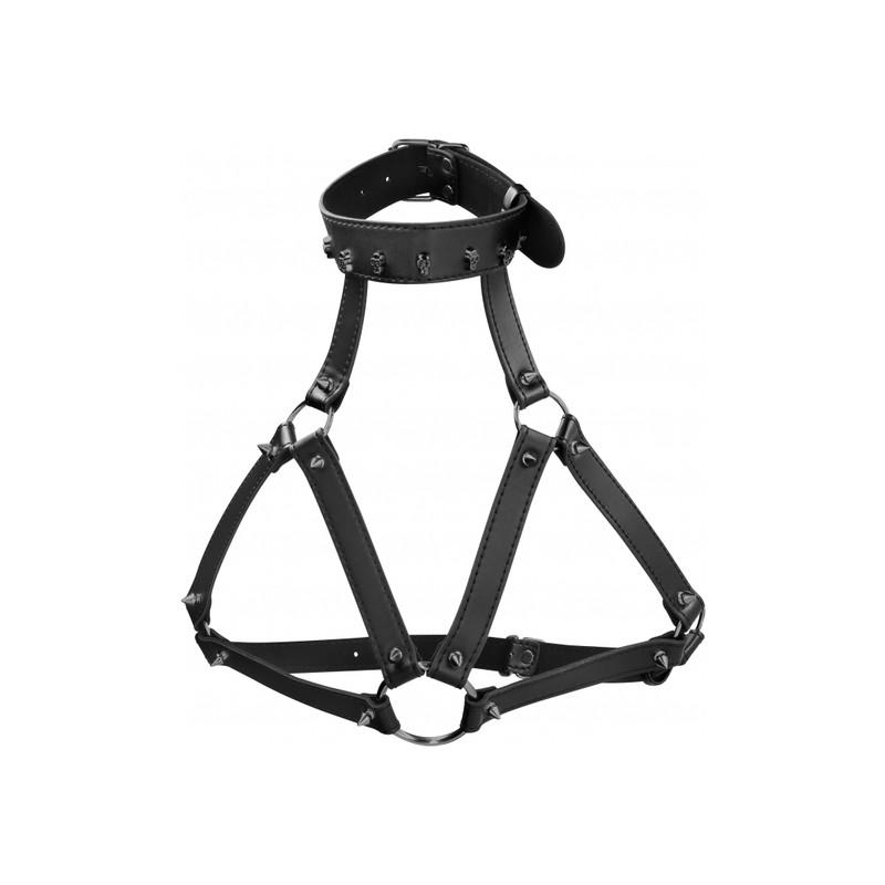 Arnés BDSM Ouch Collar Calaveras/Pinchos Negro