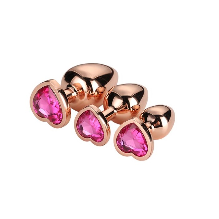 Kit 3 Plugs Gleaming Love Rose Gold Dream Toys