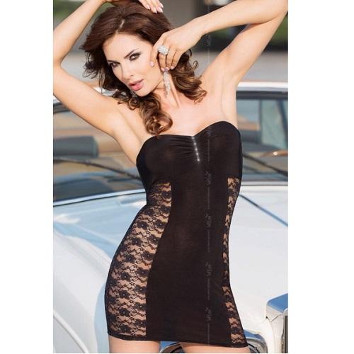 Mini Vestido De Softline Negro 1787 Berenice