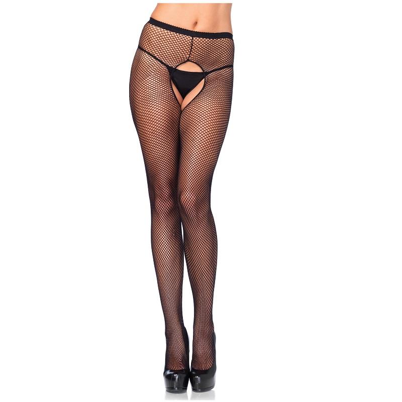 Panty Con Abertura Leg Avenue Negro 1404 Rejilla
