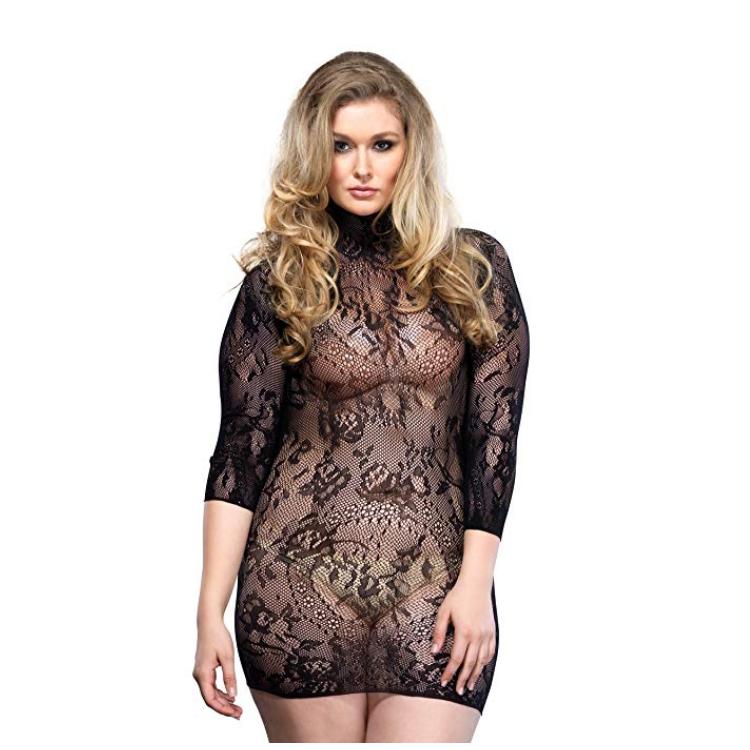 Mini Vestido De Leg Avenue 86571 Negro Encaje Floral