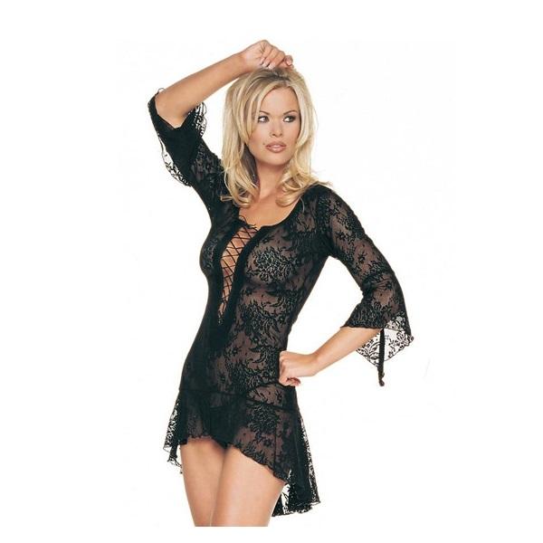 Mini Vestido De Leg Avenue Encaje Negro  8050