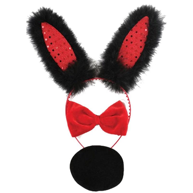 Set Diadema Bunny Rojo/Negro