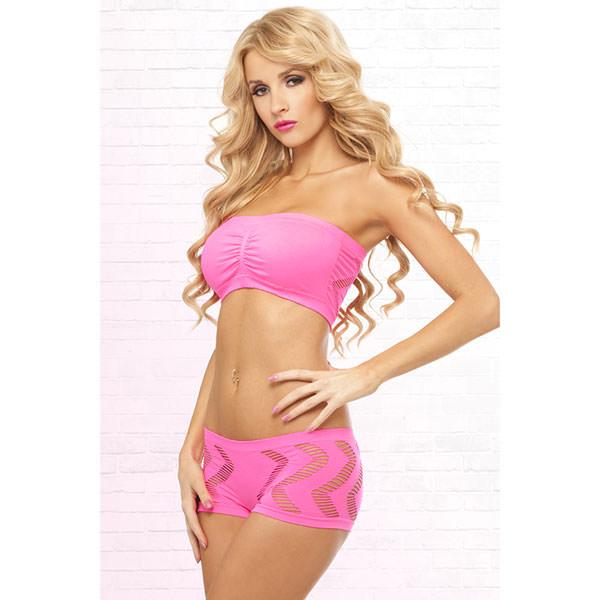 Conjunto 2 Piezas De Pink Lipstcik Rosa Side Game Seamless Bandeau