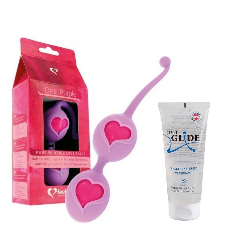 Love Balls Silicone Desi Purple Feelztoys + 1 Bote de Lubricante Just Glide Neutro