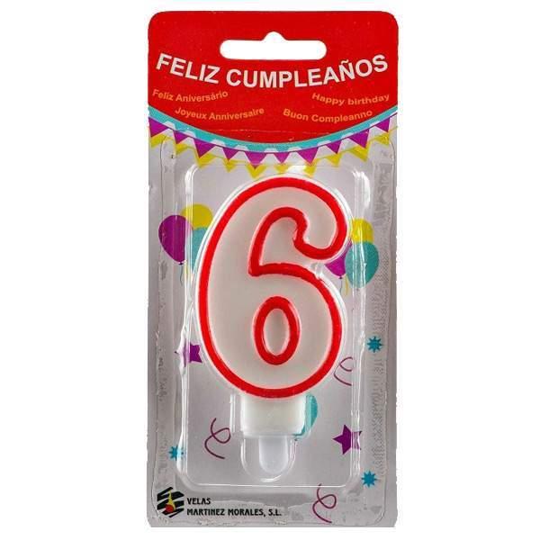 Vela Cumpleaños Número 6