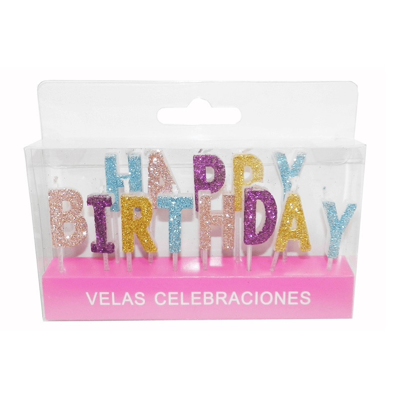Velas Happy Birthday Brillo