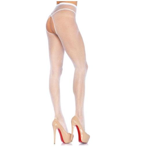 Panty Con Abertura Leg Avenue Blanco 1404 Rejilla