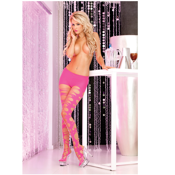 Panty Pink Lipstick Shredded And Torn Tights Rosa