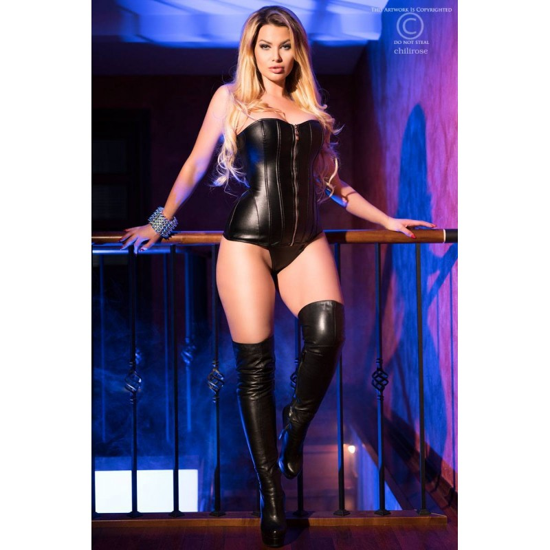 Corset Leatherlook Chilirose CR-4099