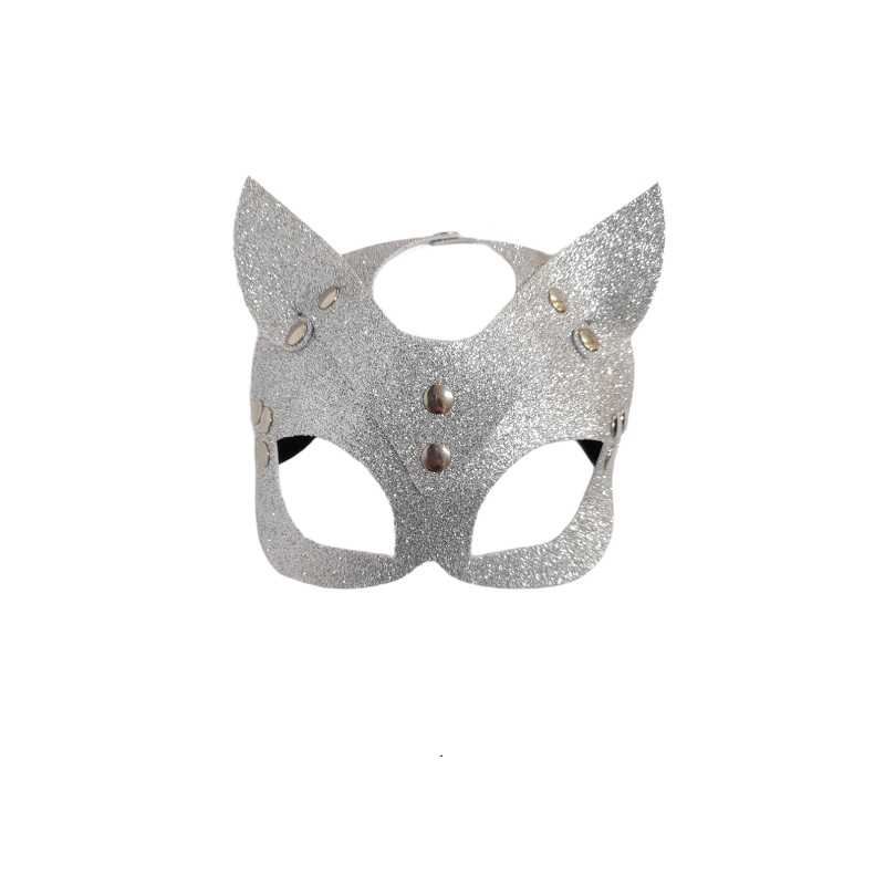 Máscara Gato Purpurina Plata