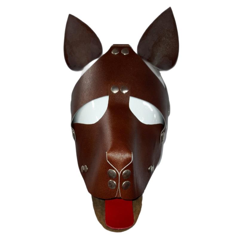 Máscara Perro Cuero Marrón Lengua Roja