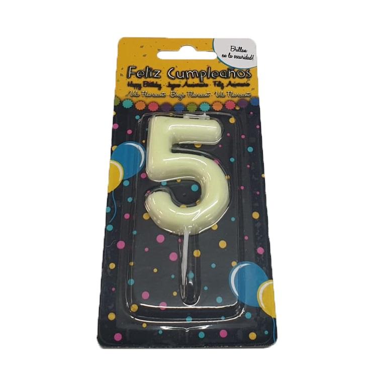 Vela Cumpleaños Fluorescente Número 5
