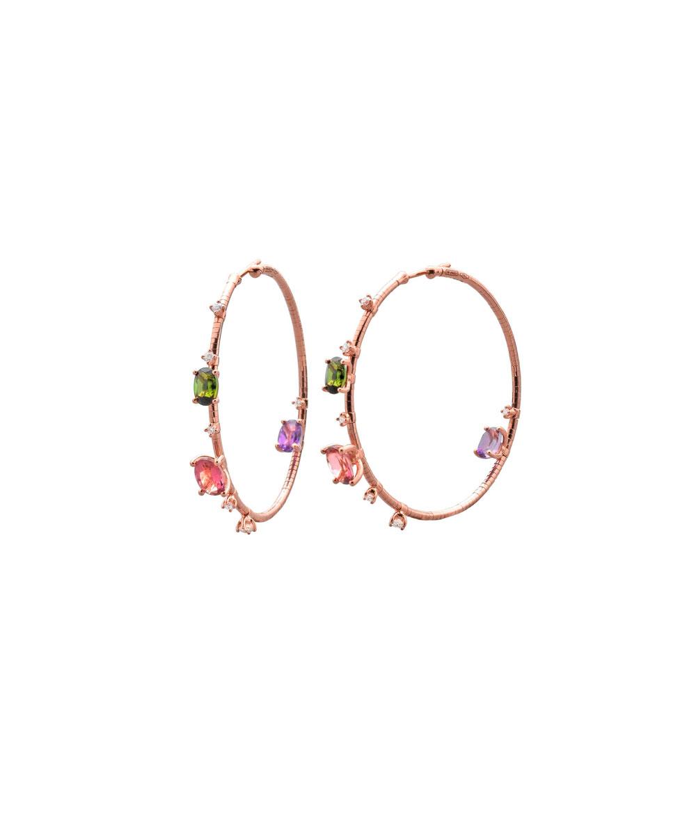 Pendientes aros Rugiada Oro rosa, Titanio, Diamantes, Turmalina y Amatista - LJWR162
